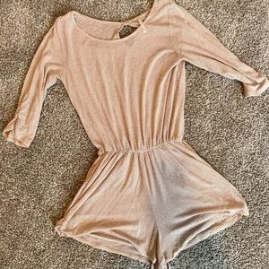 Other - Tan and white striped romper. Perfect for summer!